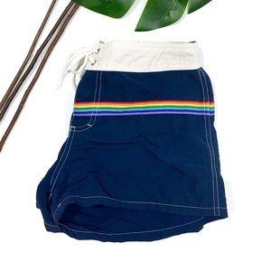 Pride Rainbow Stripe Navy Blue Swimming Shorts